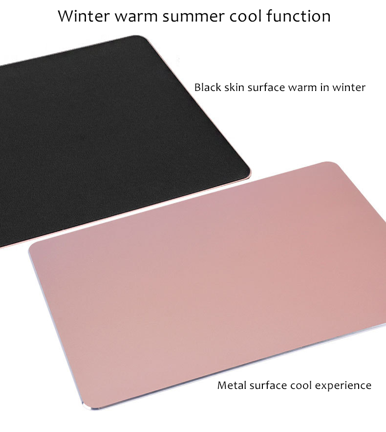 dual-sided aluminum mouse pad presentation