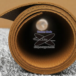 custom leather desk pad edges showing in roll packing