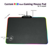 Custom RGB Lighting Hard Gaming Mouse Pad