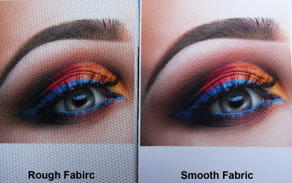 Image printing comparing on smooth fabric and rough surface