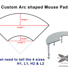 Custom arc shaped mouse pad sizes need