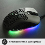 G-wolves Skoll black gaming mouse in RGB lighting