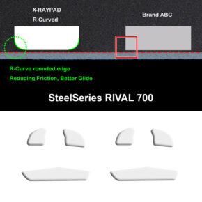 R curve mouse-skates for SteelSeries RIVAL 700