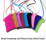 Small Crossbody Cell Phone Purse Velvet Fabric Mini Shoulder Handbag For Girl