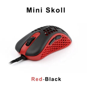 red black mini skoll gaming mouse front view